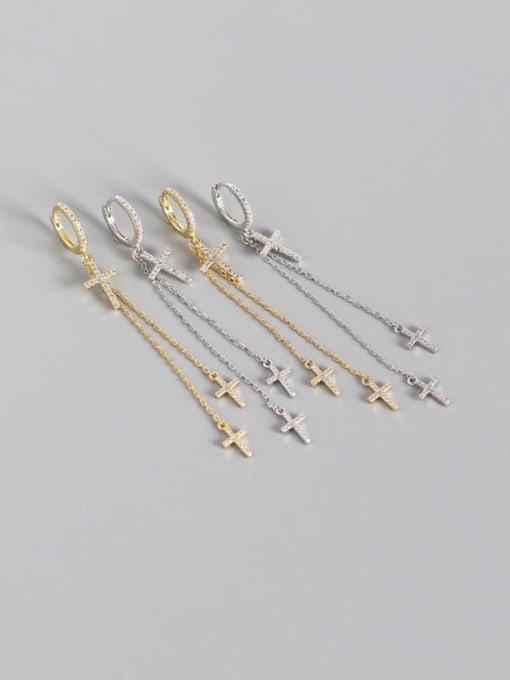 ACE 925 Sterling Silver Cubic Zirconia Cross Minimalist Threader Earring 0