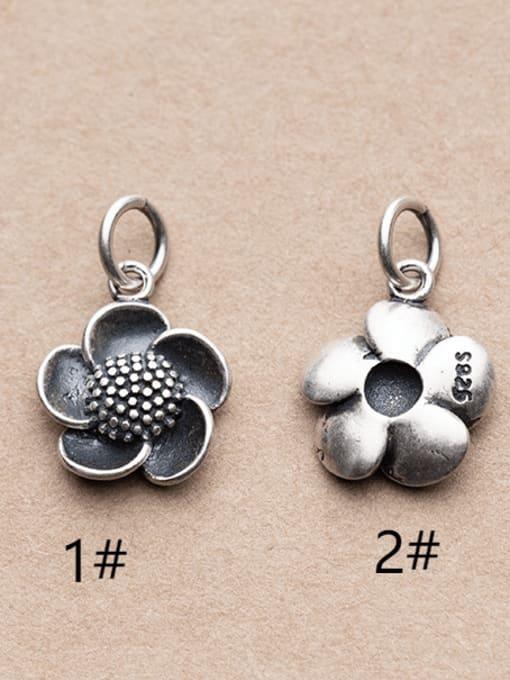 FAN 925 Sterling Silver Flower Charm Height : 15.5 mm , Width: 13 mm 1