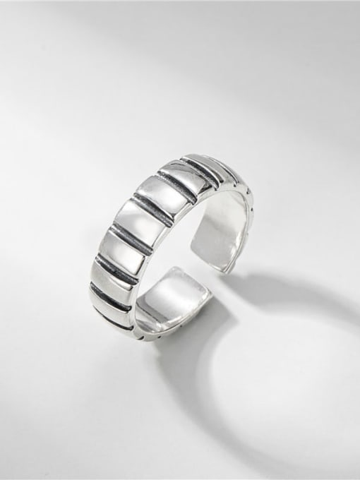 Straight line ring 925 Sterling Silver Geometric Vintage Band Ring