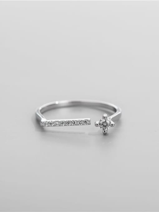 ARTTI 925 Sterling Silver Cubic Zirconia Geometric Vintage Band Ring