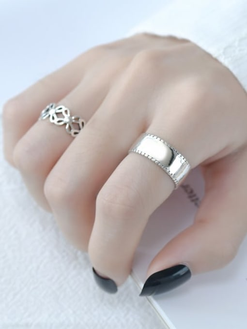 ARTTI 925 Sterling Silver Smooth Geometric Vintage Band Ring 2