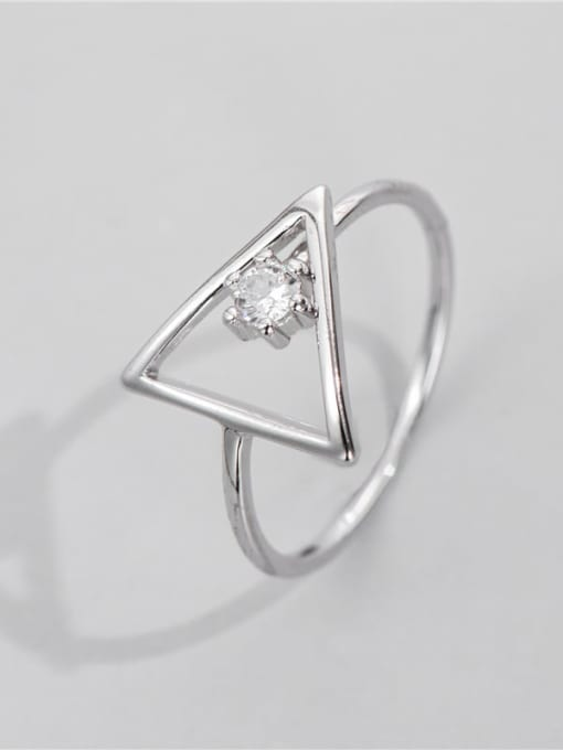 Geometric ring 925 Sterling Silver Rhinestone Triangle Minimalist Band Ring