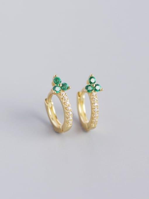 Golden greenstone 925 Sterling Silver Cubic Zirconia Flower Dainty Huggie Earring