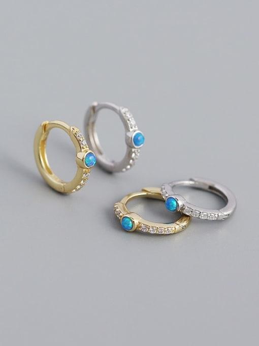 ACE 925 Sterling Silver Opal Geometric Vintage Huggie Earring 1