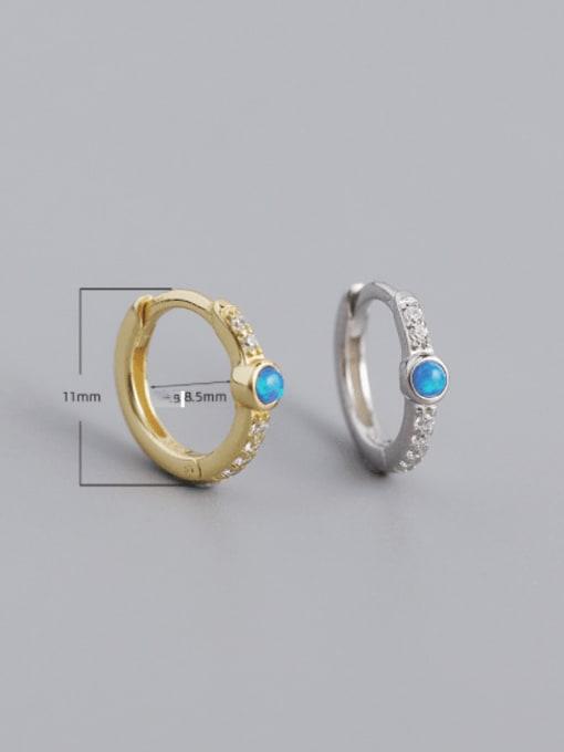 ACE 925 Sterling Silver Opal Geometric Vintage Huggie Earring 4