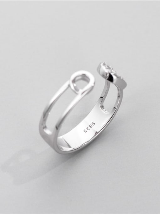 ARTTI 925 Sterling Silver Cubic Zirconia Geometric Vintage Band Ring 0