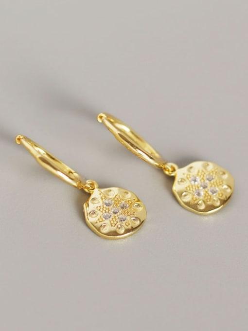Gold 925 Sterling Silver Rhinestone White Geometric Dainty Huggie Earring
