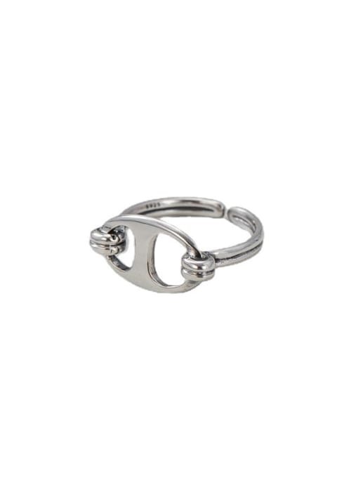 Pig nose ring 925 Sterling Silver Geometric Minimalist Band Ring