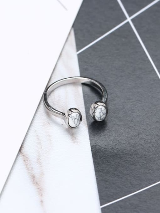 ACE 925 Sterling Silver White Round Minimalist Multistone Ring 3