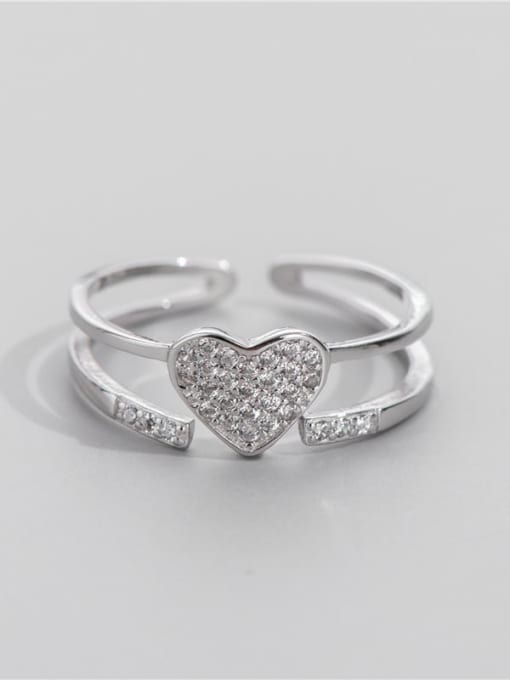 ARTTI 925 Sterling Silver Rhinestone Geometric Minimalist Stackable Ring 1