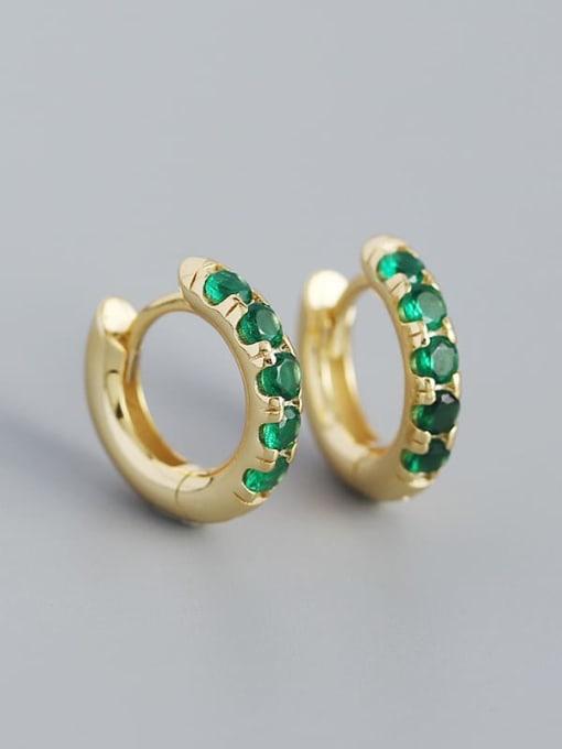 Gold (greenstone) 925 Sterling Silver Rhinestone Geometric Vintage Huggie Earring