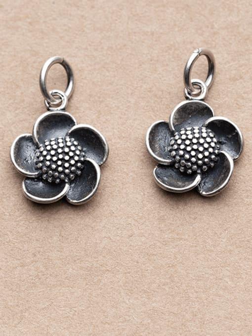 FAN 925 Sterling Silver Flower Charm Height : 15.5 mm , Width: 13 mm