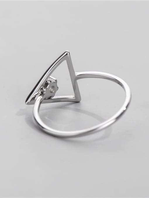 ARTTI 925 Sterling Silver Rhinestone Triangle Minimalist Band Ring 1
