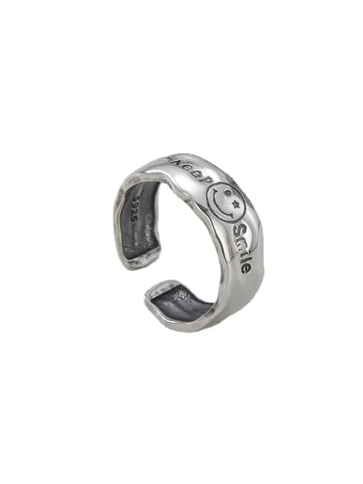 ARTTI 925 Sterling Silver Smiley Letter Vintage Band Ring 2