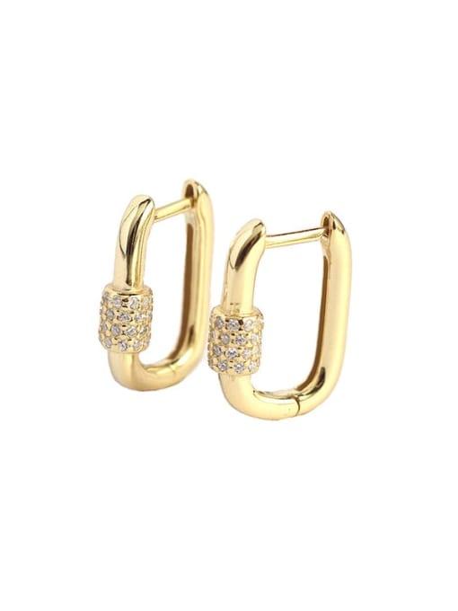ACE 925 Sterling Silver Cubic Zirconia Geometric Minimalist Huggie Earring 3