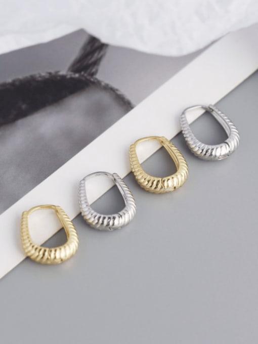 ACE 925 Sterling Silver Geometric Hip Hop Huggie Earring 0