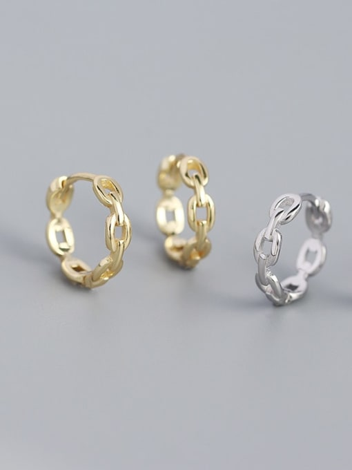 ACE 925 Sterling Silver  Hollow Geometric Minimalist Huggie Earring 0