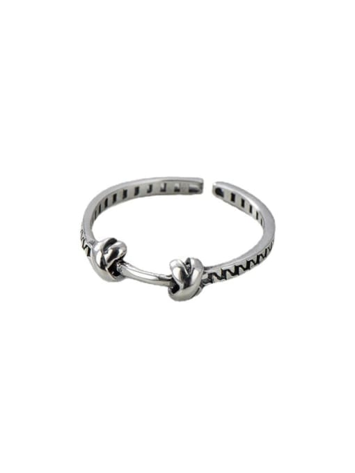 ARTTI 925 Sterling Silver  Vintage Knotted Chain Band Ring 3