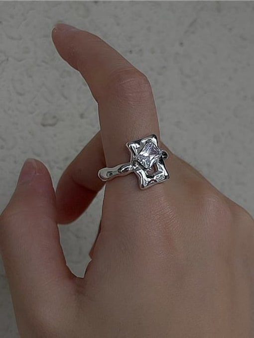 ARTTI 925 Sterling Silver Cubic Zirconia Geometric Vintage Band Ring 1