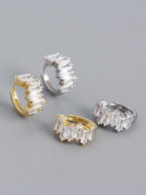 ACE 925 Sterling Silver Cubic Zirconia Geometric Vintage Huggie Earring