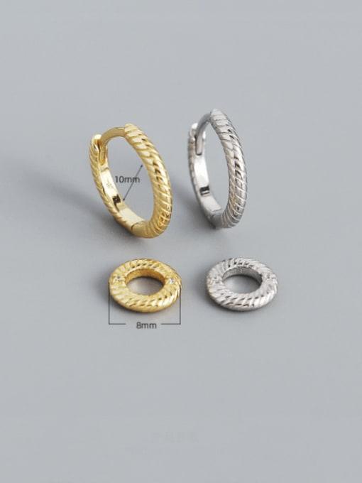 ACEE 925 Sterling Silver Geometric Minimalist Huggie Earring 1