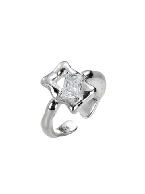 Texture ring 925 Sterling Silver Cubic Zirconia Geometric Vintage Band Ring