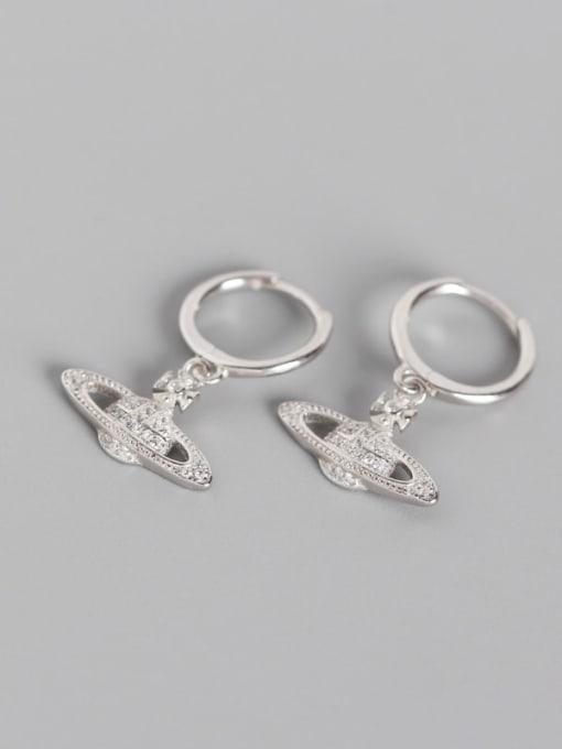 Platinum 925 Sterling Silver Rhinestone White Ball Cute Huggie Earring