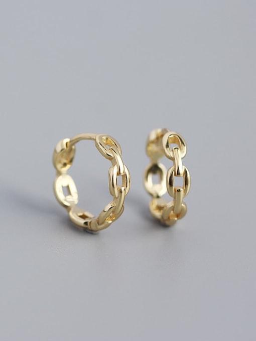 Golden 925 Sterling Silver  Hollow Geometric Minimalist Huggie Earring