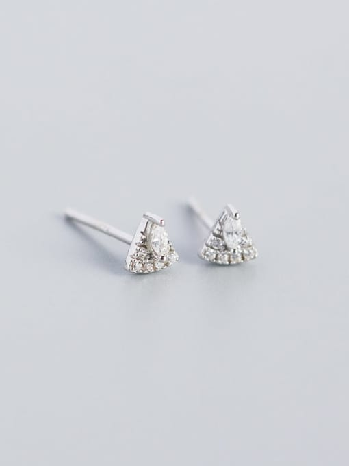 Platinum 925 Sterling Silver Cubic Zirconia Triangle Vintage Stud Earring