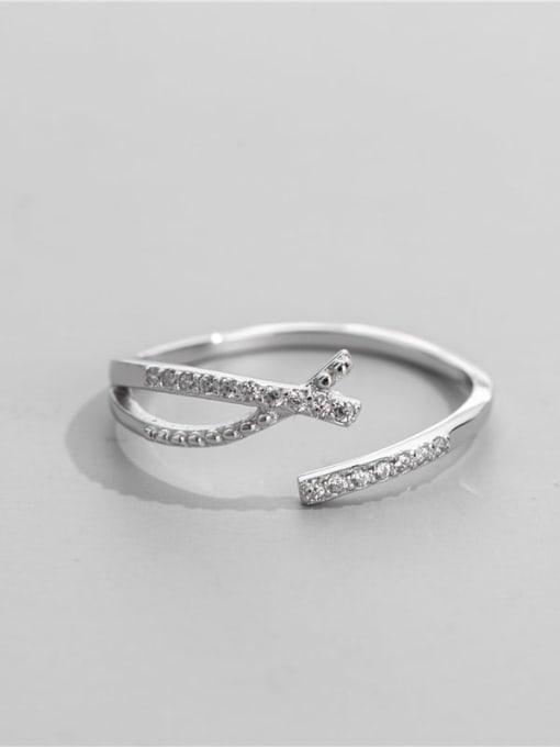ARTTI 925 Sterling Silver Cubic Zirconia Irregular Minimalist Band Ring 1