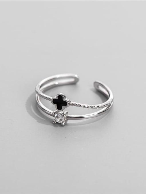 ARTTI 925 Sterling Silver Enamel Clover Minimalist Stackable Ring