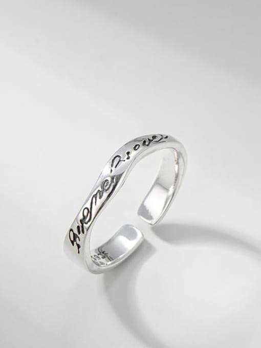Irregular letter ring 925 Sterling Silver Irregular Vintage Band Ring