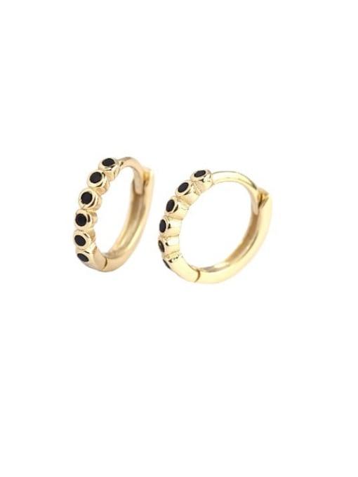 ACE 925 Sterling Silver Rhinestone Geometric Minimalist Huggie Earring 3