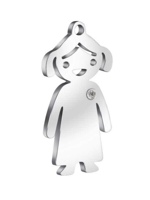 Girl - steel Color 304L Steel Boy or Girl Pendant, Width:14mm,Height:25mm