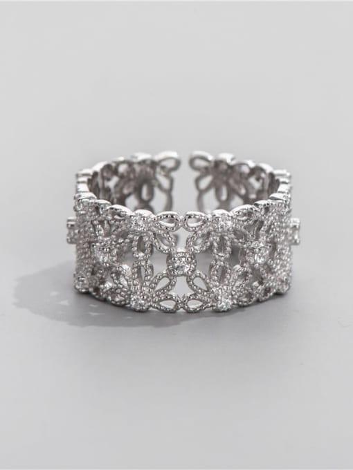 ARTTI 925 Sterling Silver Rhinestone Flower Vintage Band Ring 0