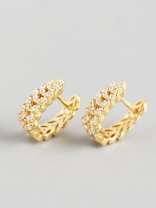 2#Gold 925 Sterling Silver Cubic Zirconia White Leaf Dainty Huggie Earring