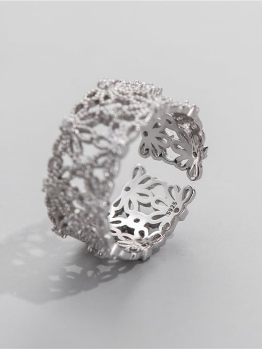 Lace ring 925 Sterling Silver Rhinestone Flower Vintage Band Ring