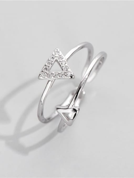 Triangular ring 925 Sterling Silver Cubic Zirconia Triangle Minimalist Band Ring