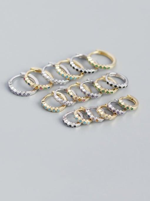 ACE 925 Sterling Silver Rhinestone Geometric Minimalist Huggie Earring