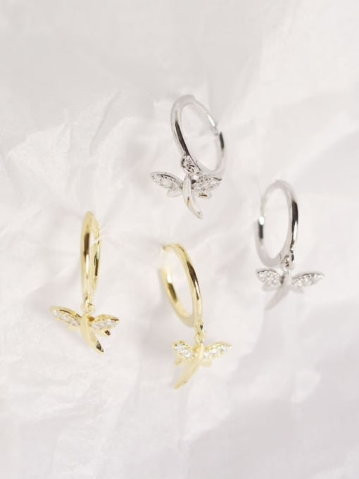 ACE 925 Sterling Silver Dragonfly Trend Huggie Earring 1