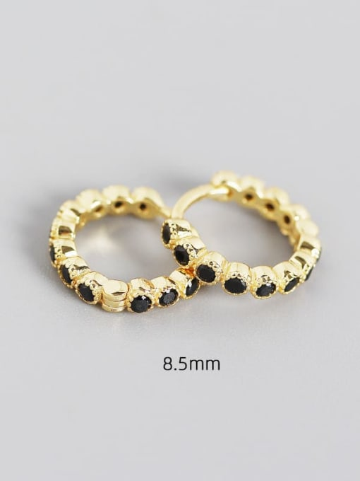 8.5mm gold black stone 925 Sterling Silver Cubic Zirconia Geometric Minimalist Huggie Earring
