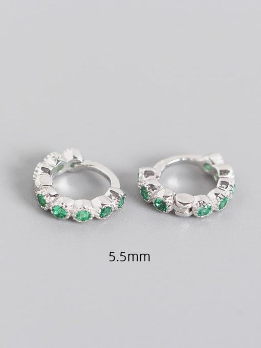 5.5mm platinum chlorite 925 Sterling Silver Cubic Zirconia Geometric Minimalist Huggie Earring