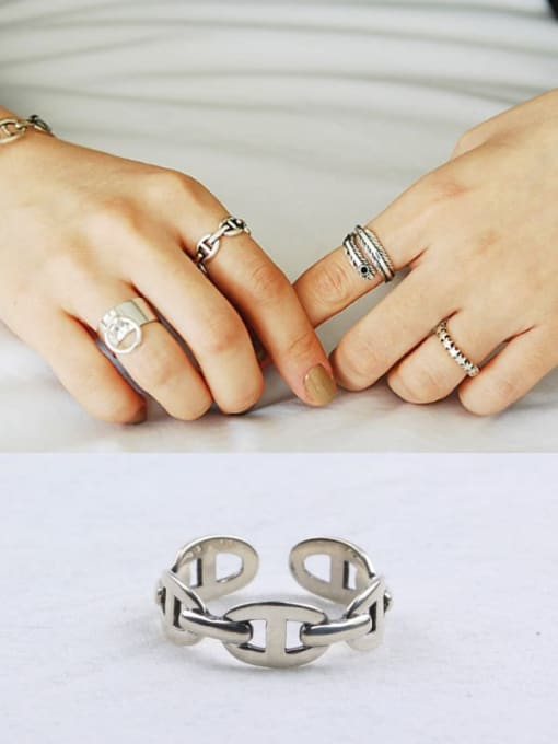 ACE 925 Sterling Silver Hollow Geometric Trend Band Ring 0