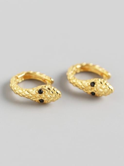 2#Gold 925 Sterling Silver Snake Trend Huggie Earring