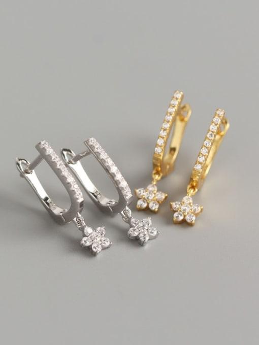 ACE 925 Sterling Silver Cubic Zirconia Geometric Minimalist Stud Earring 1