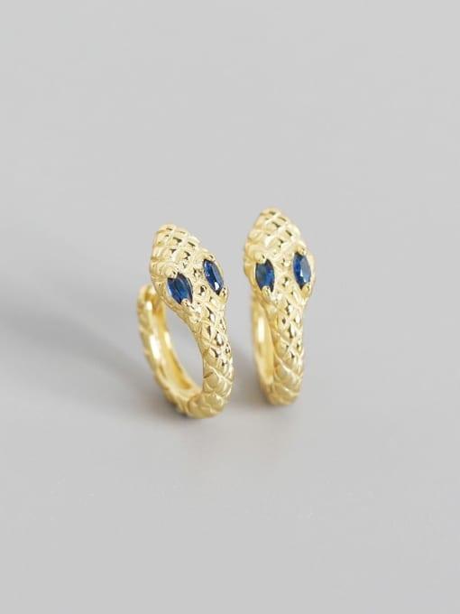 Golden Blue Stone 925 Sterling Silver Cubic Zirconia Snake Vintage Huggie Earring