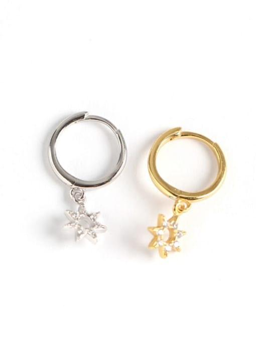 ACE 925 Sterling Silver Rhinestone White Star Cute Huggie Earring 2