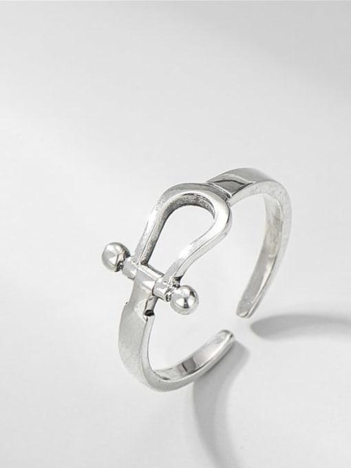 U-ring 925 Sterling Silver Geometric Vintage Band Ring