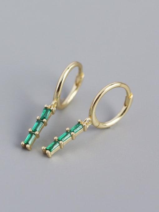 Golden green stone 925 Sterling Silver Cubic Zirconia Geometric Vintage Huggie Earring