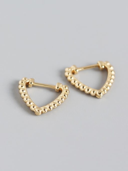 Gold 925 Sterling Silver Cubic Zirconia  Hollow Heart Vintage Stud Earring